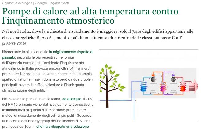 Pompa di calore contro inquinamento